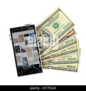 Smartphone with broken display lying on money banknotes Isolated on White background with cliping path. Loss of - Stock Photo