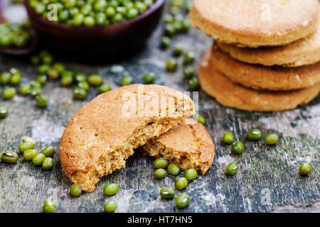 Mung bean cookies, healthy vegan dessert. - Stock Photo
