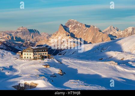 Rifugio Rosetta, The Pale di San Martino massif. The Dolomites. - Stock Photo