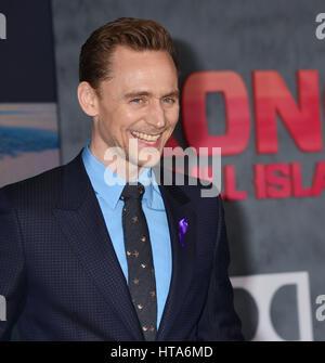Los Angeles, USA. 08th Mar, 2017. Tom Hiddleston 097 at the Kong Skull Island Premiere at the Microsoft Theatre - Stock Photo