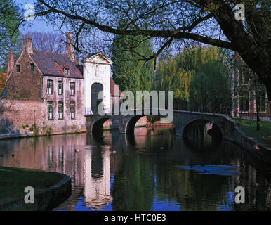 The Beguinage, Bruges, Belgium. - Stock Photo