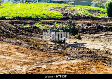 A Church now a pile of ground up concrete to be replaces with an apartment complex.  San Leandro California - Stock Photo