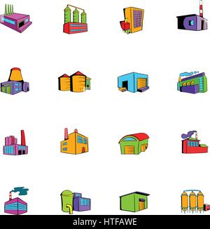 Industrial factory building set icons set in cartoon style isolated on white background vector illustration - Stock Photo