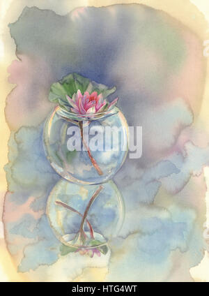 rose water lily in glass vase watercolor background - Stock Photo