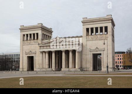 Propylaea designed by German architect Leo von Klenze (1862) in Konigsplatz in Munich, Bavaria, Germany. - Stock Photo