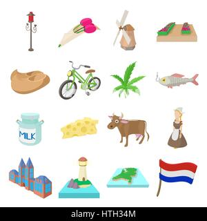 Netherlands icons set, cartoon style  - Stock Photo