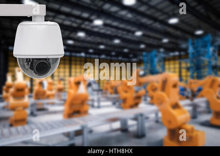 3d rendering security camera or cctv camera in factory - Stock Photo