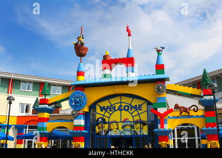 LEGOLAND, WINDSOR, UK - APRIL 30, 2016: The colorful entrance to the Legoland Hotel - Stock Photo