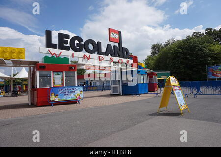 LEGOLAND, WINDSOR, UK - APRIL 30, 2016: Early morning before the crowds arrive at the Legoland entrance - Stock Photo