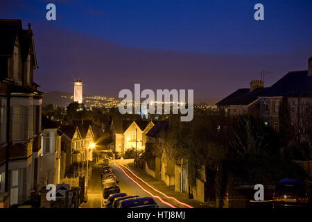 Stow Hill looking towards the Civic Centre, Newport, South Wales at night. - Stock Photo