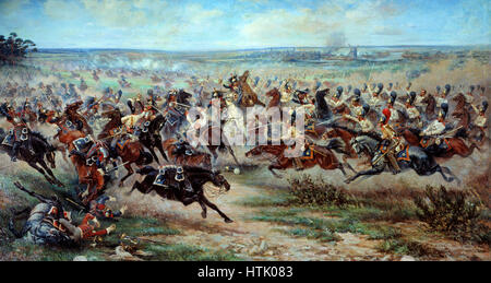 Charge of the Russian Imperial Guard cavalry against French cuirassiers at the Battle of Friedland, 14 June 1807 - Stock Photo