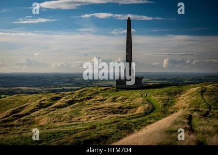 The Lansdowne Monument on Cherhill, Wiltshire, UK - Stock Photo