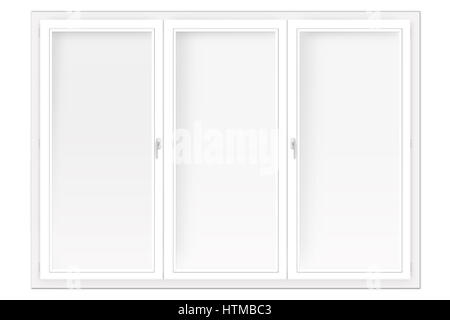 three-leaved window isolated on the white background - Stock Photo