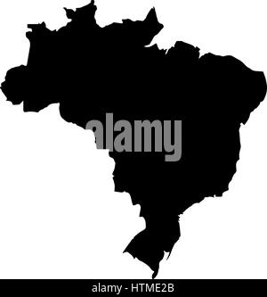 Map of Brazil. High detailed vector silhouette - Stock Photo