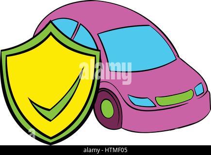 Car insurance icon cartoon - Stock Photo
