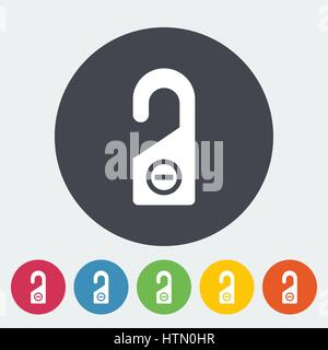 Door tag. Single flat icon on the circle. Vector illustration. - Stock Photo