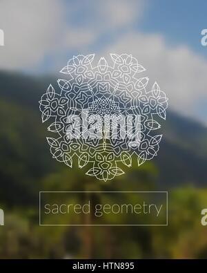 Boho sacred geometry mandala on tropic background  - Stock Photo