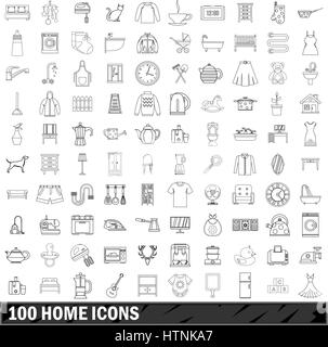 100 home icons set in outline style for any design vector illustration - Stock Photo