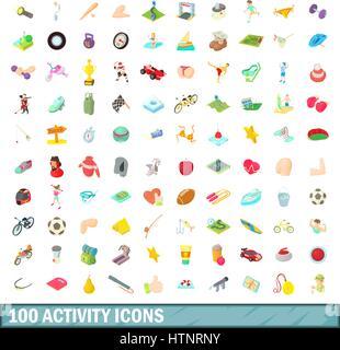 100 activity icons set, cartoon style - Stock Photo