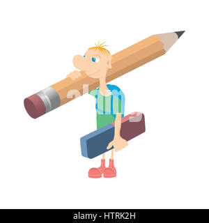 Humorous little man with a pencil - Stock Photo
