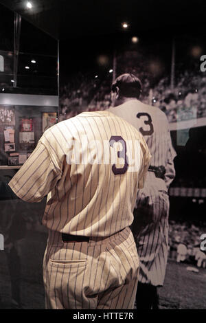 New York Yankees jersey worn by Babe Ruth (George Herman Ruth), National Baseball Hall of Fame and Museum , Cooperstown, - Stock Photo