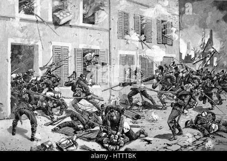 Street battle in Bazeilles, the battle was an important battle of the Battle of Sedan during the Franco-Prussian - Stock Photo