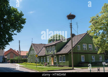 Wooden houses in Rusne, Lithuania, Baltic States, eastern Rurope - Stock Photo