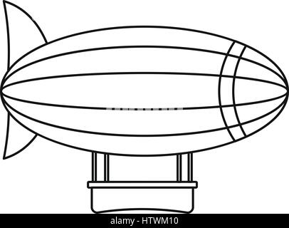 Blimp aircraft flying icon, outline style - Stock Photo