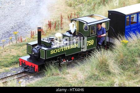 'Yeo' a 2-6-2 tank locomotive based on the Lynton and Barnstaple Class Engine on the Fairbourne Railway, Fairbourne, - Stock Photo