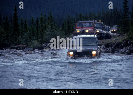 Jeep Jamboree off road adventure in Alberta Canada 1994 - Stock Photo