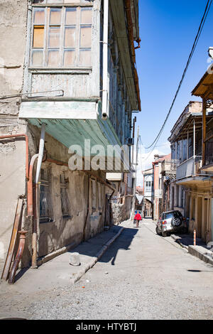 Streets of Tbilisi, the capital of the independent caucasian country - the former Soviet Union Republic of Georgia. - Stock Photo