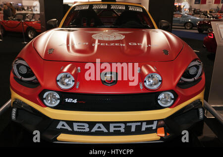 Front view of an  Abarth 124 Spider Rally car, on the Abath Stand at the 2017 London Classic Car Show - Stock Photo