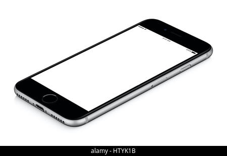 Black mobile smart phone mockup clockwise rotated lies on the surface with blank screen isolated on white background. - Stock Photo
