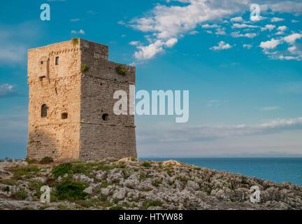 Coastal watchtower in Marina Serra, Tricase, Lecce, puglia, Italy. - Stock Photo