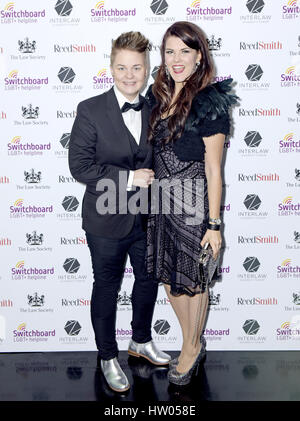 Meri Sopanen and Saara Aalto attending Winter Carnival, in aid of LGBT+ Switchboard, hosted by Tom Daley at The - Stock Photo