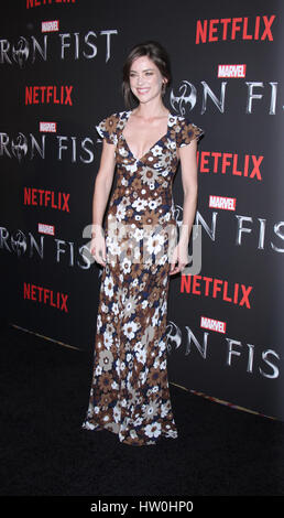 New York, USA. 15th March 2017. Jessica Stroup attends NetFlix presents a premiere of Marvel's Iron Fist at AMC - Stock Photo