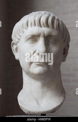 Marble head from an oversized statue of Roman Emperor Trajan (reign 98-117 AD) on display in the Glyptothek Museum - Stock Photo