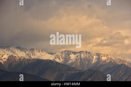 DEQIN, CHINA - APR 16 2015: Morning View of Meili Snow Mountain Nature Reserve. a famous landscape in Deqin, Yunnan, - Stock Photo