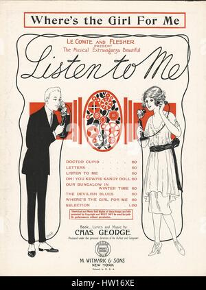 'Listen to Me' 1922 Musical Sheet Music Cover - Stock Photo