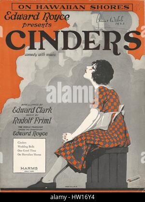 'Cinders' 1923 Musical Sheet Music Cover - Stock Photo