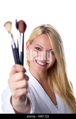 Woman with Make up paintbrush, Frau mit Make up Pinsel - Stock Photo