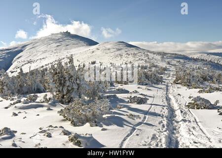 View on a Śnieżka in Polish Karkonosze mountains - Stock Photo