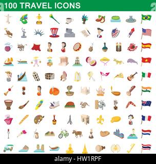 100 travel icons set, cartoon style - Stock Photo