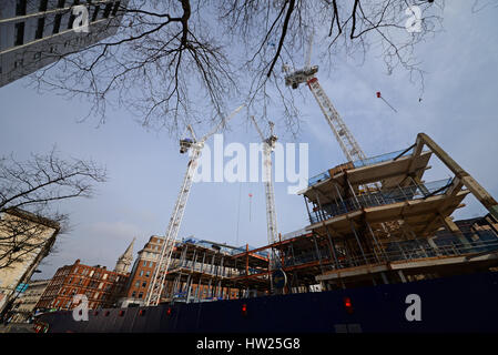 Building work underway to transform 21-31 New Oxford Street - The Post Building - into offices with shops below - Stock Photo