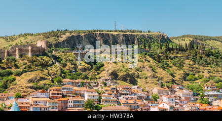 Cableway Over Historical Buildings In Tbilisi Old Town, Georgia. Beautiful Architecture In Historic District At - Stock Photo