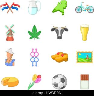 Netherland travel icons set, cartoon style - Stock Photo