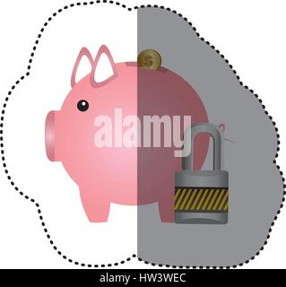 colorful silhouette sticker of money box in shape of piggy and padlock - Stock Photo