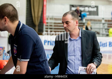 March 15, 2017: Tudor Costescu the head coach of BC SCM Timisoara  during the LNBM - Men's National Basketball League - Stock Photo
