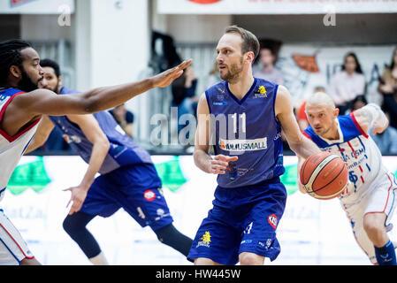 March 15, 2017: Octavian Popa Calota #11 of BC SCM Timisoara  during the LNBM - Men's National Basketball League - Stock Photo