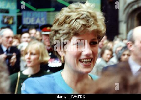 HRH Diana The Princess of Wales visits Lincoln March 17th 1992 - Stock Photo